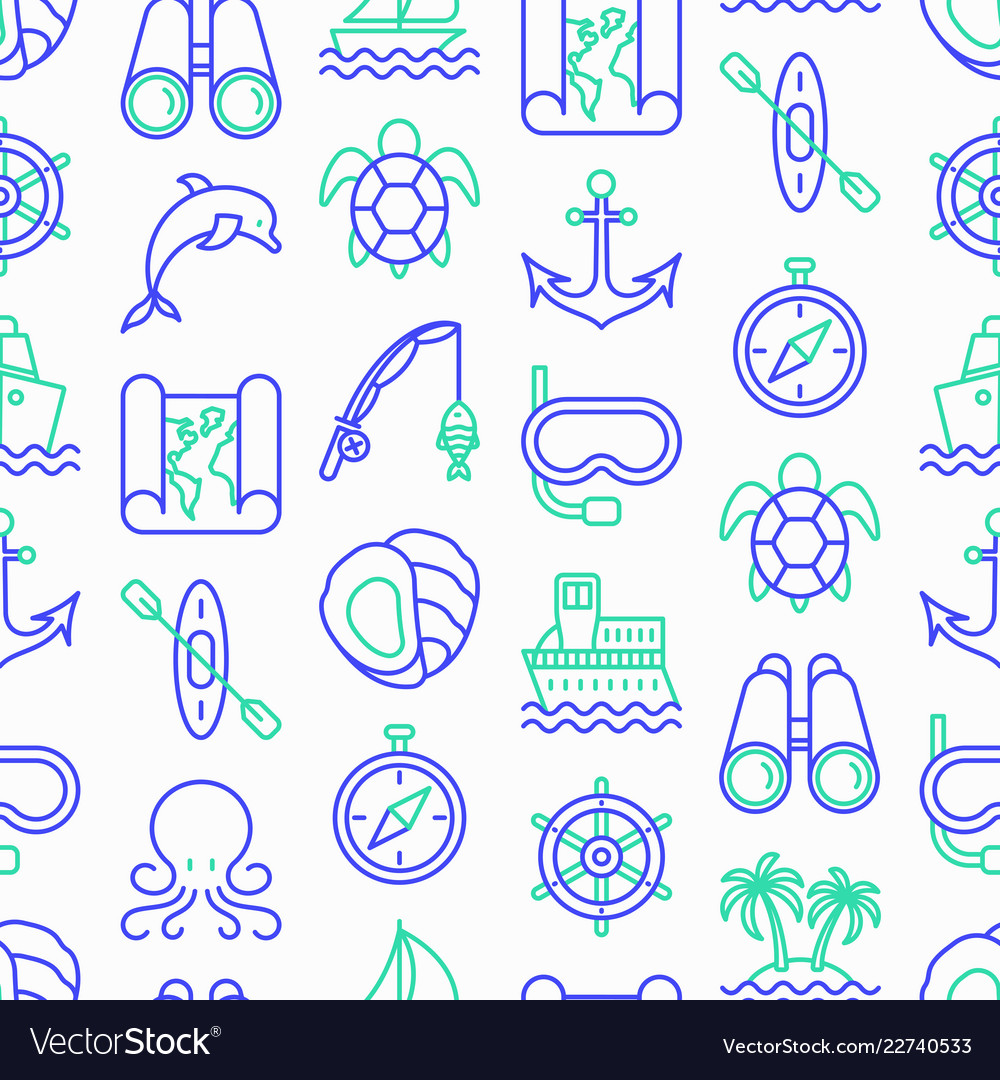Sea and ocean journey seamless pattern