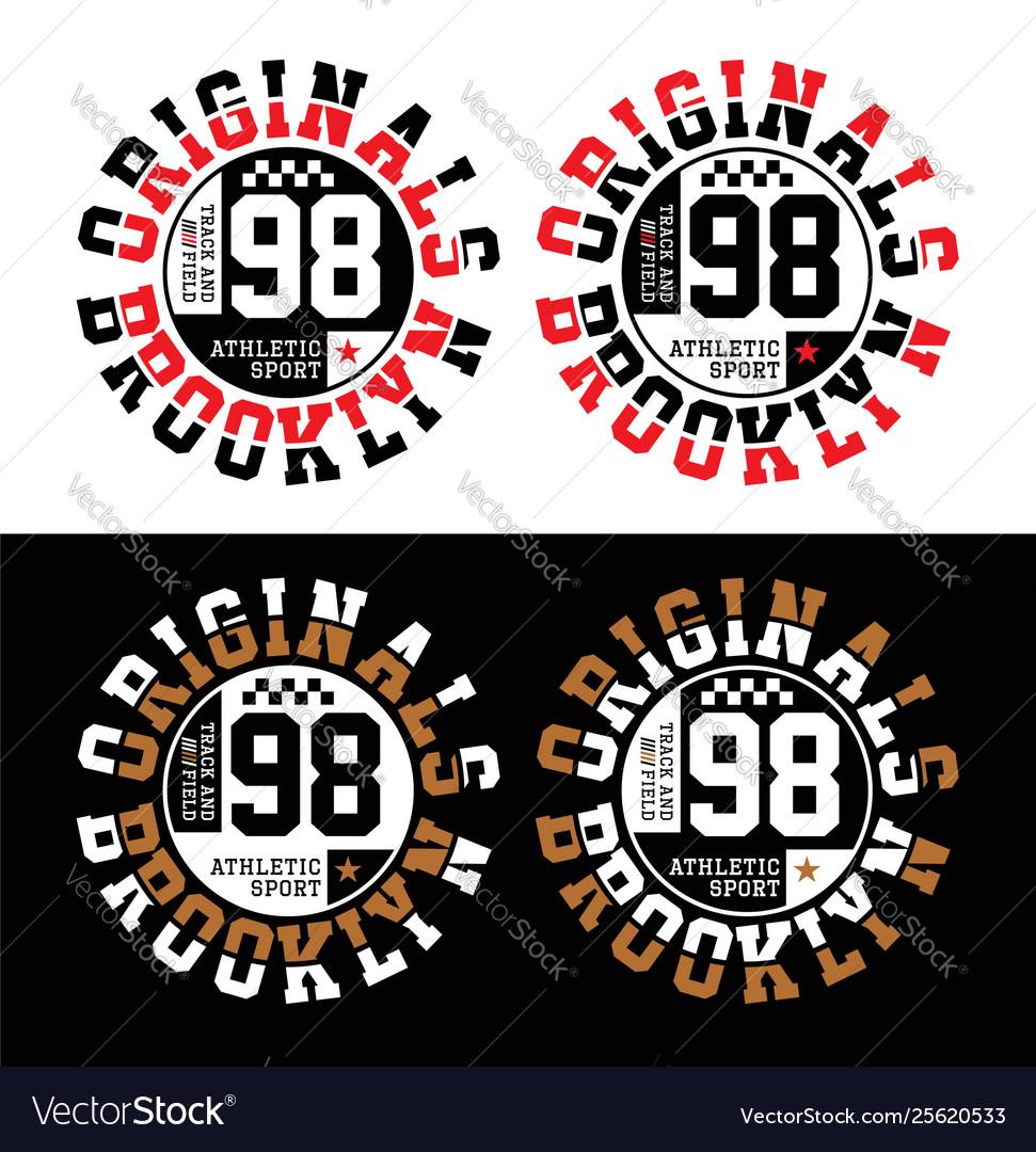Set athletic sport brooklyn typography design