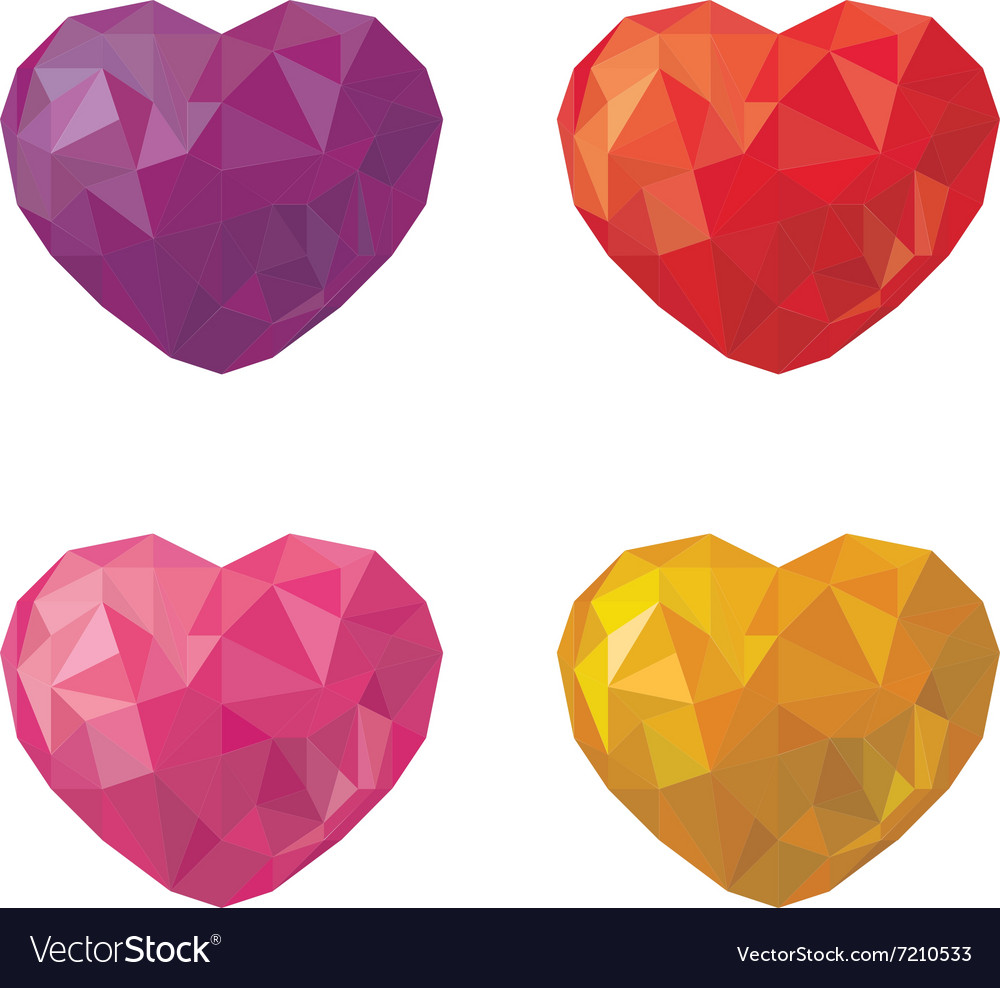 Set of multicolored hearts in low poly style