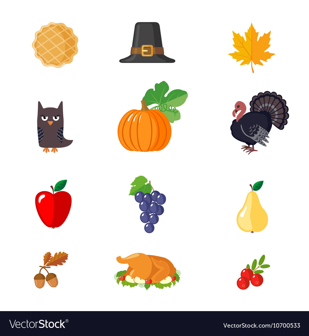 Set of Thanksgiving icons in flat style