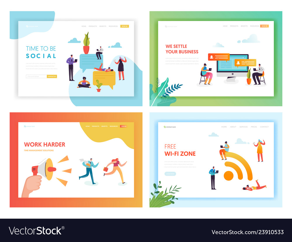 Social media networking concept landing page