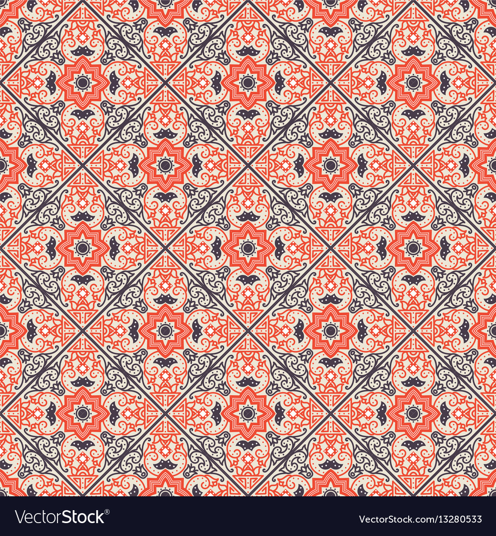 talavera tile vibrant mexican seamless pattern vector image