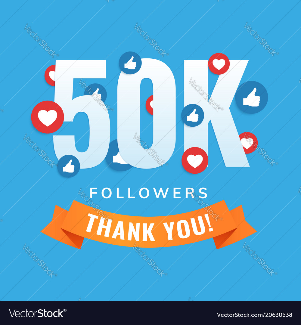 50k followers social sites post greeting card