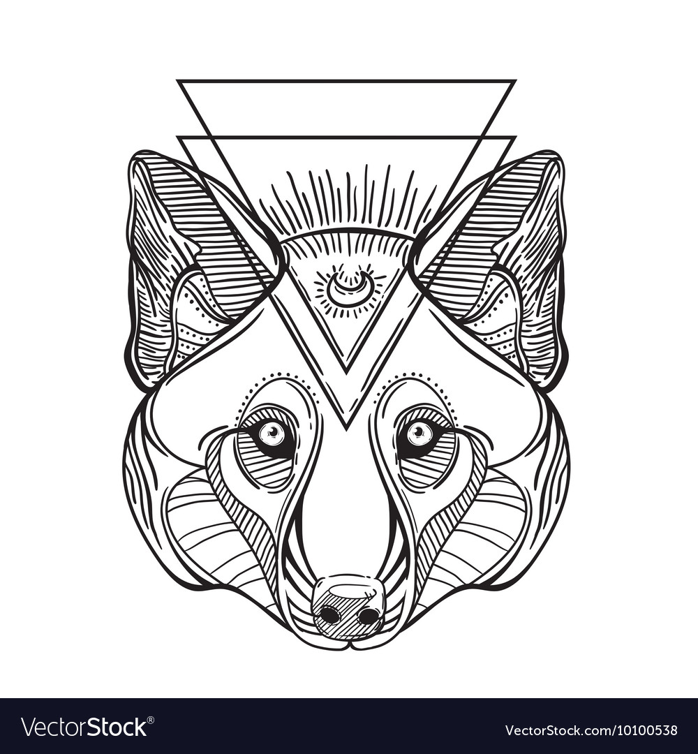 Animal head print for adult anti stress coloring