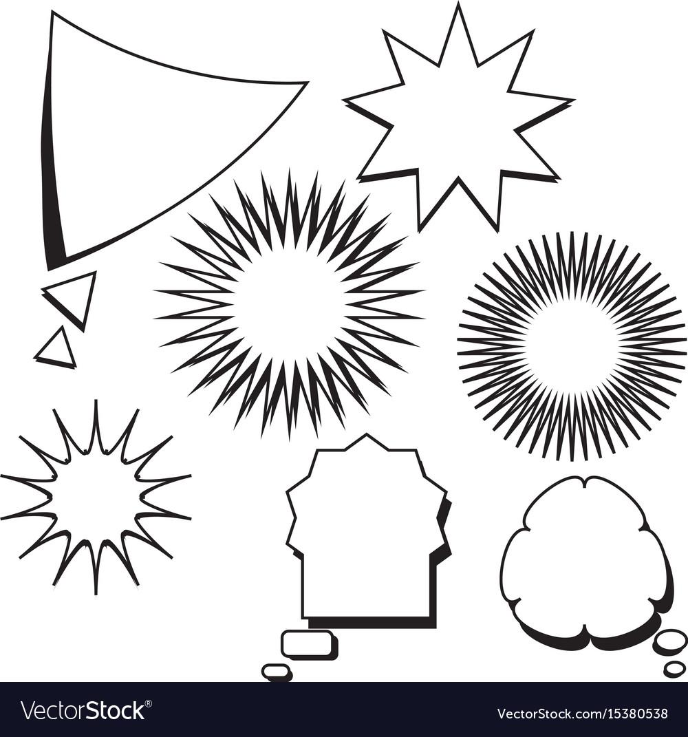 Blank template comic text speech bubble star set