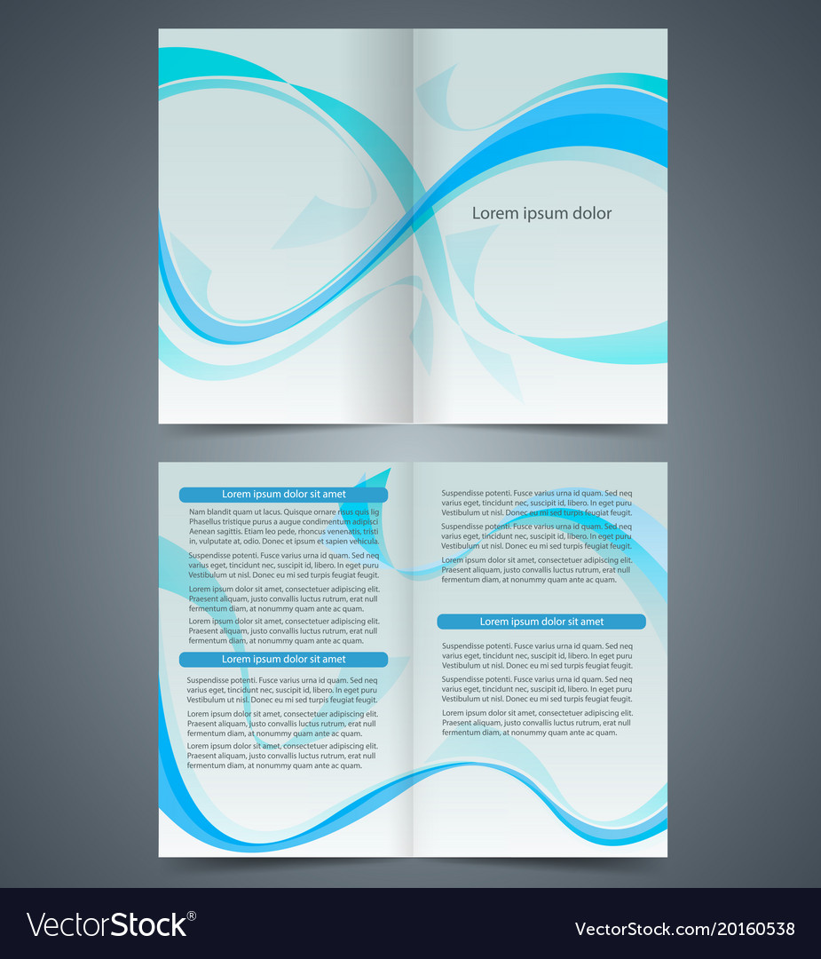 blue booklet template design with waves royalty free vector
