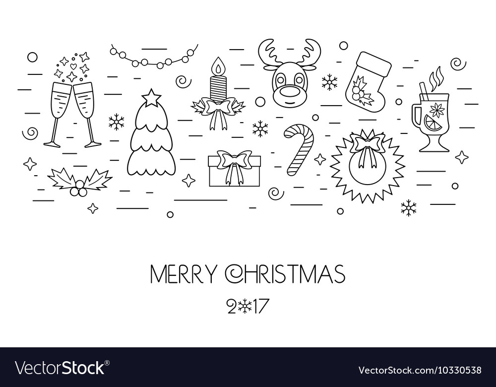 Christmas isolated concept from linear icons Flat