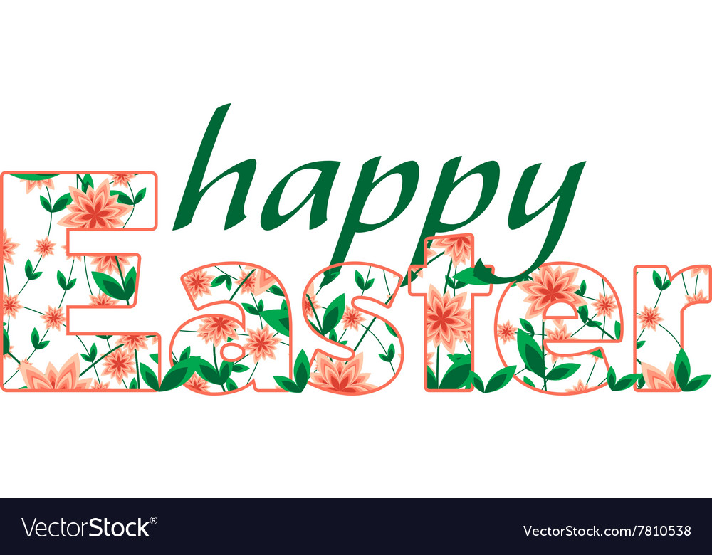 Happy Easter greetings card calligraphic vector image