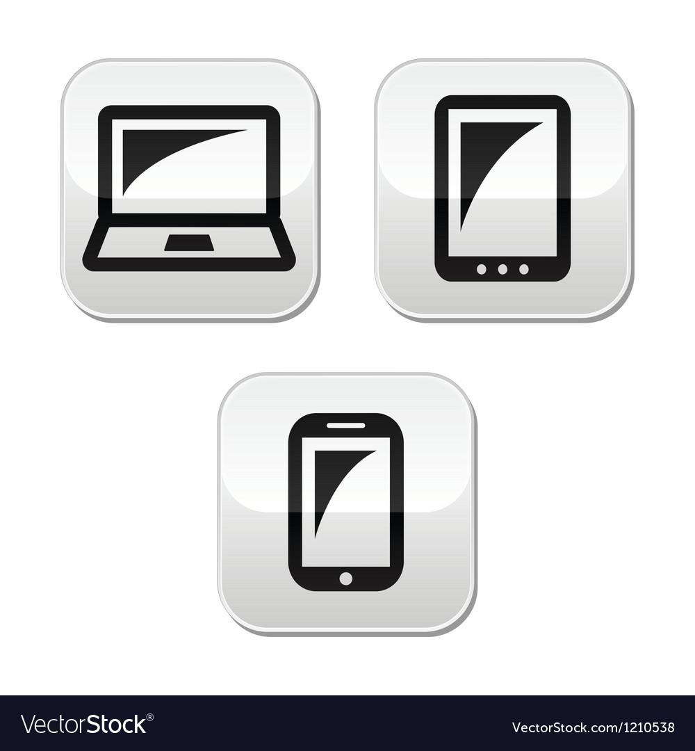 Laptop tablet smarthone vecor buttons set
