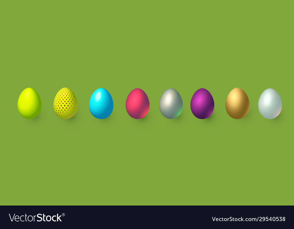 Realistic easter eggs 3d set holiday decoration