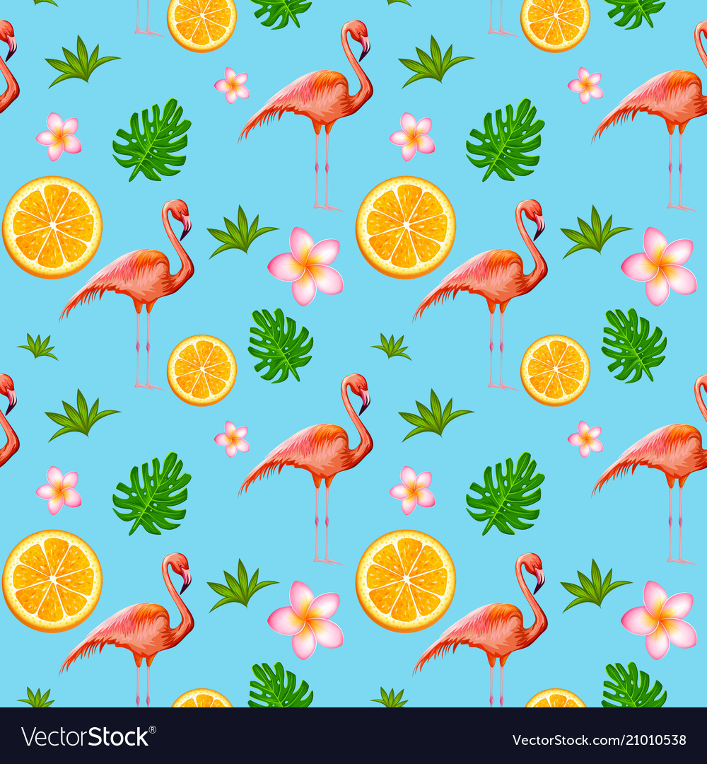 Seamless pattern with exotic tropical flower and