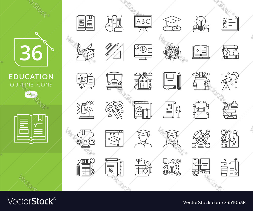 Set line icons in flat design education