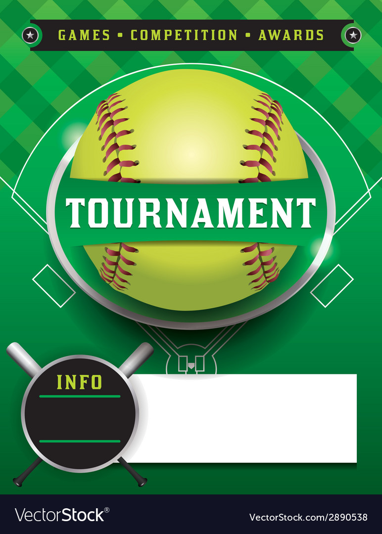 softball tournament template royalty free vector image