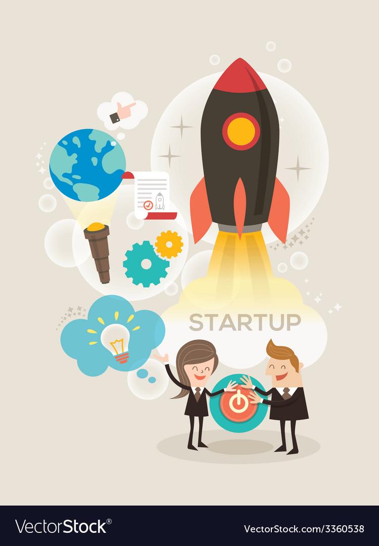 Start up business concept idea rocket launch vector image