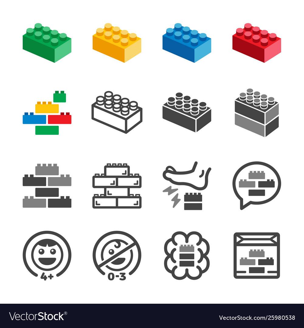 Toy brick icon set