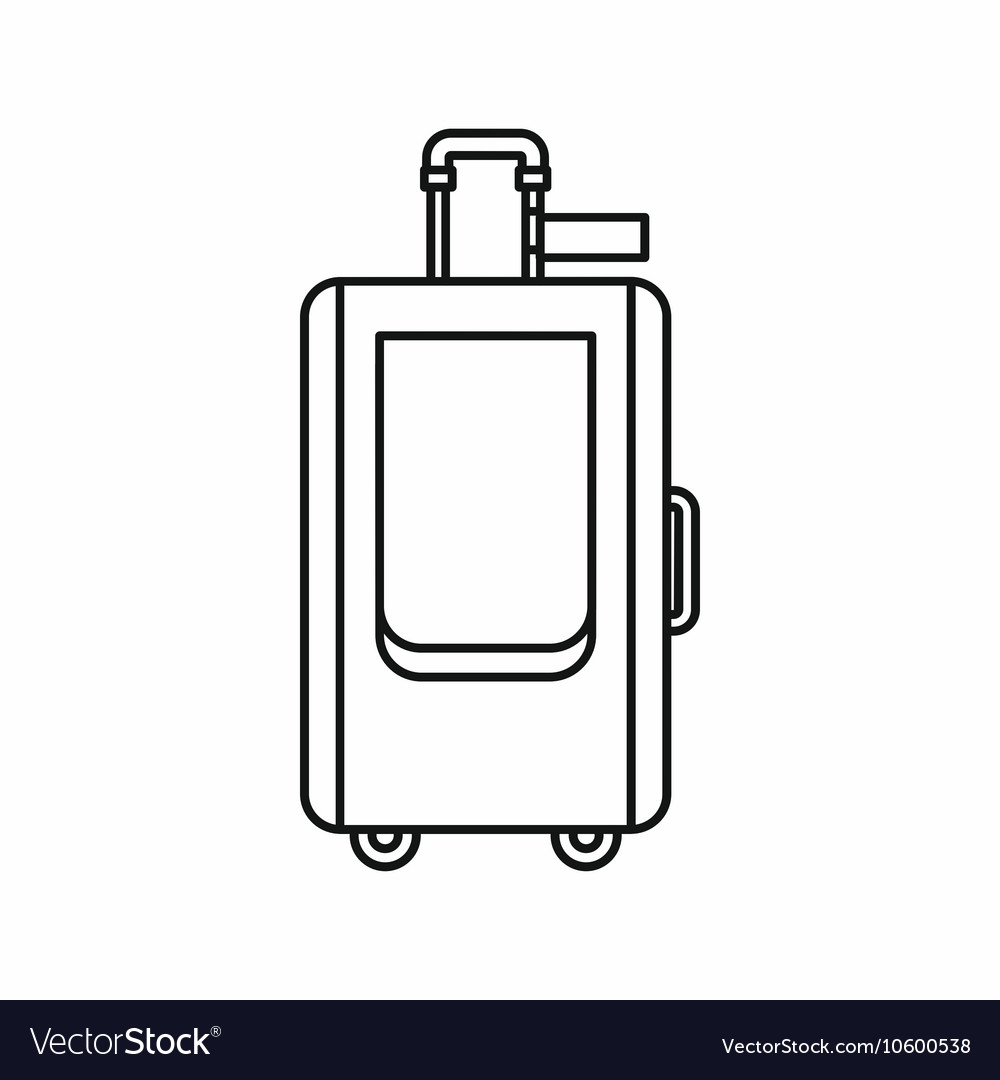 Travel suitcase icon in outline style vector image