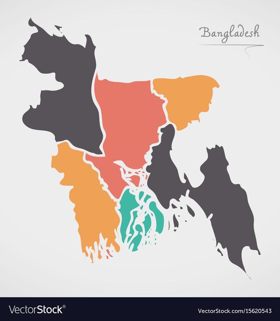 Bangladesh map with states and modern round shapes vector image