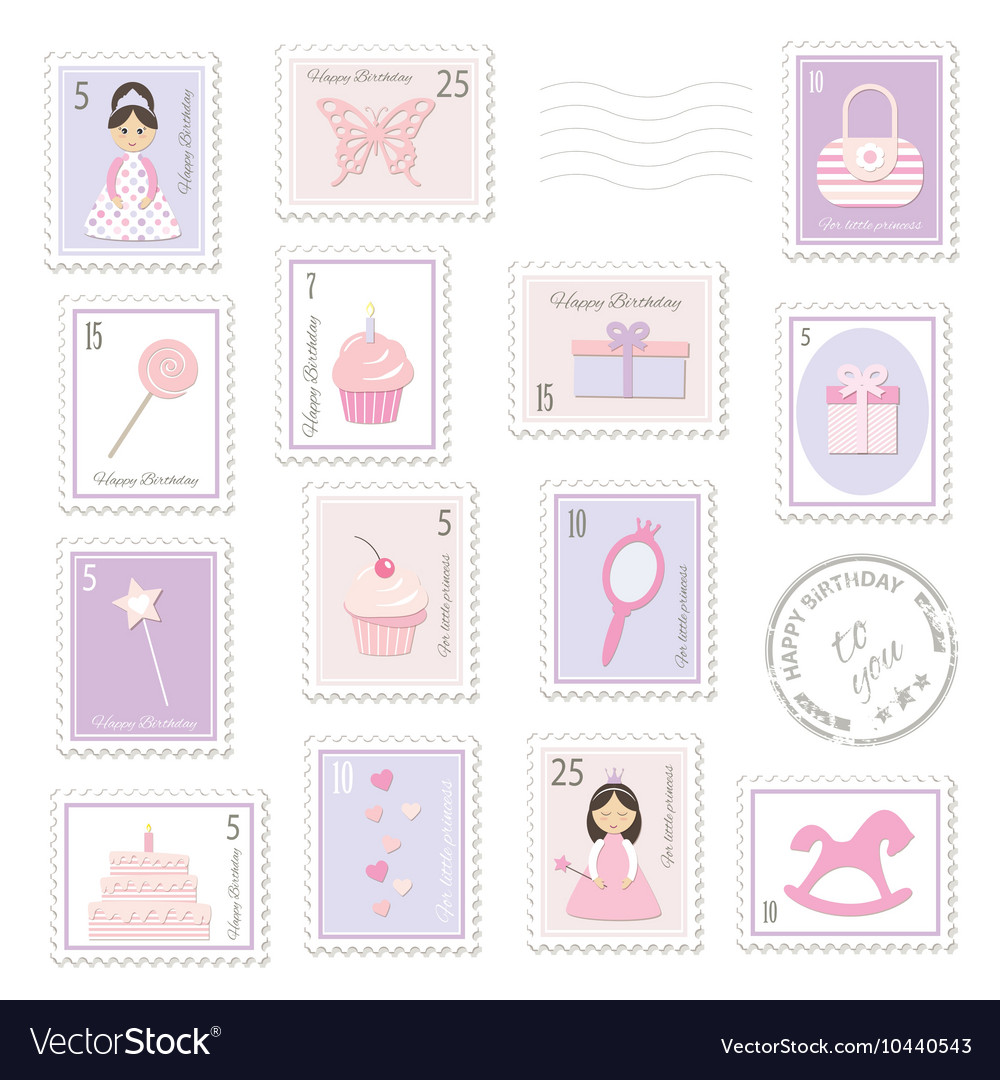 Birthday postage stamps set for girls