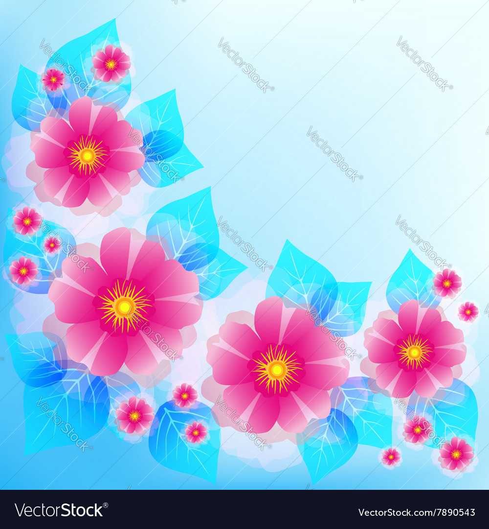 Blue Background With Decorative Flower And Leaf Vector Image