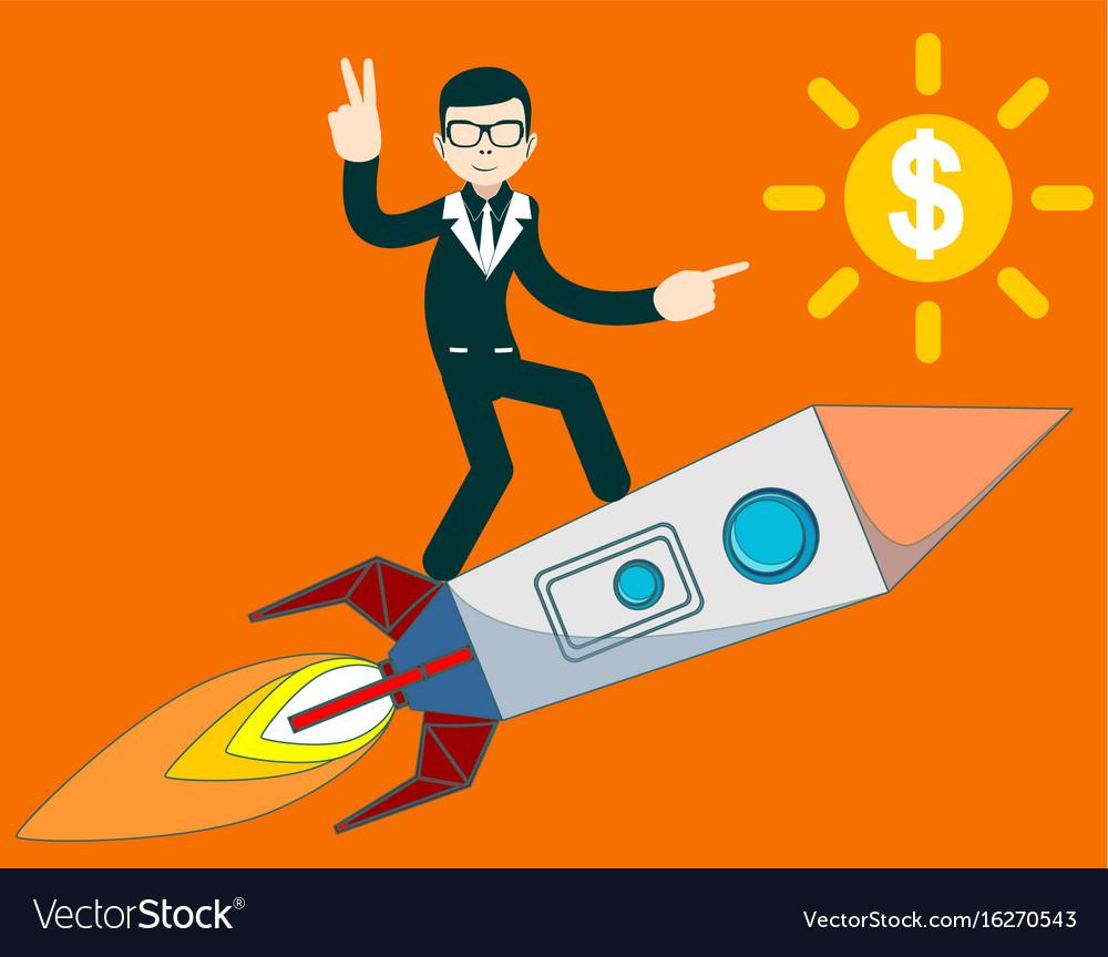 Businessman flying on a rocket on sky background