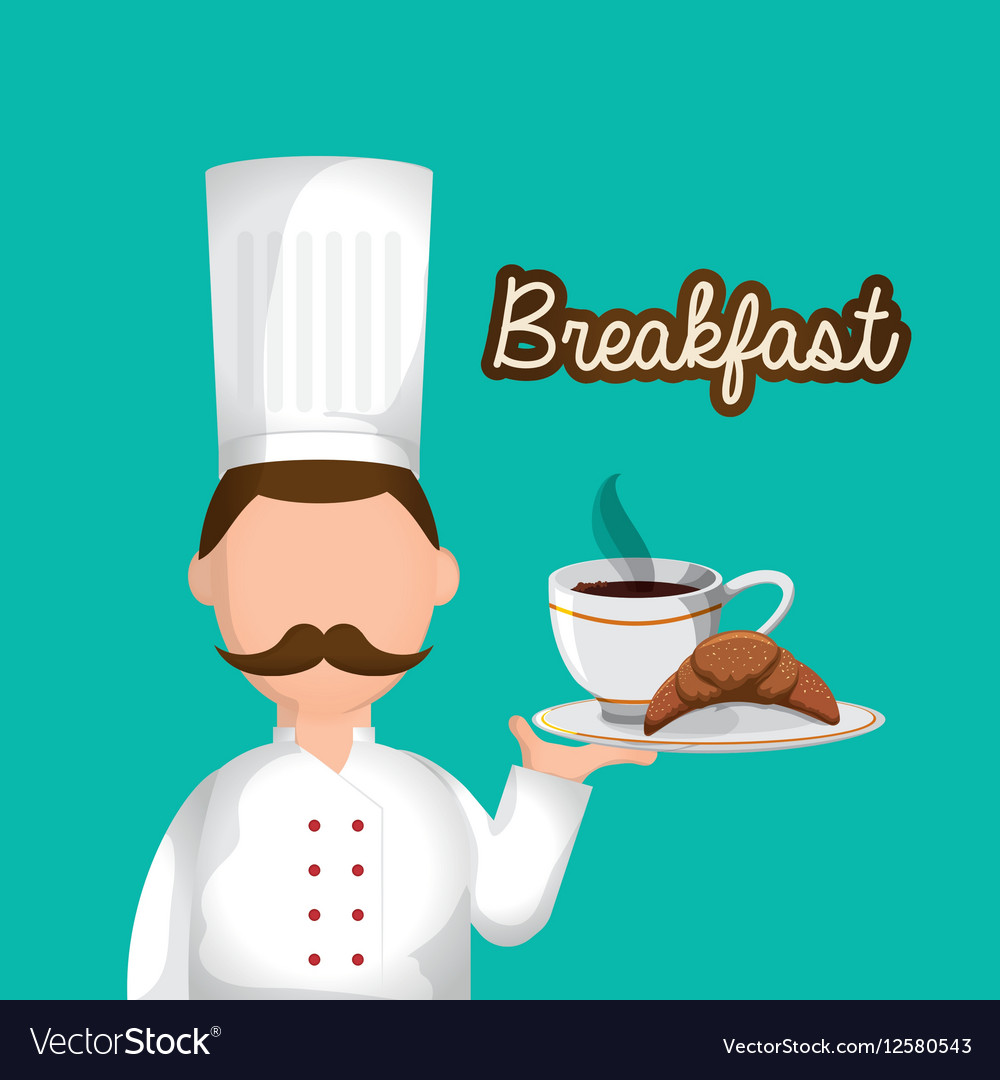 Character chef breakfast tray food vector image