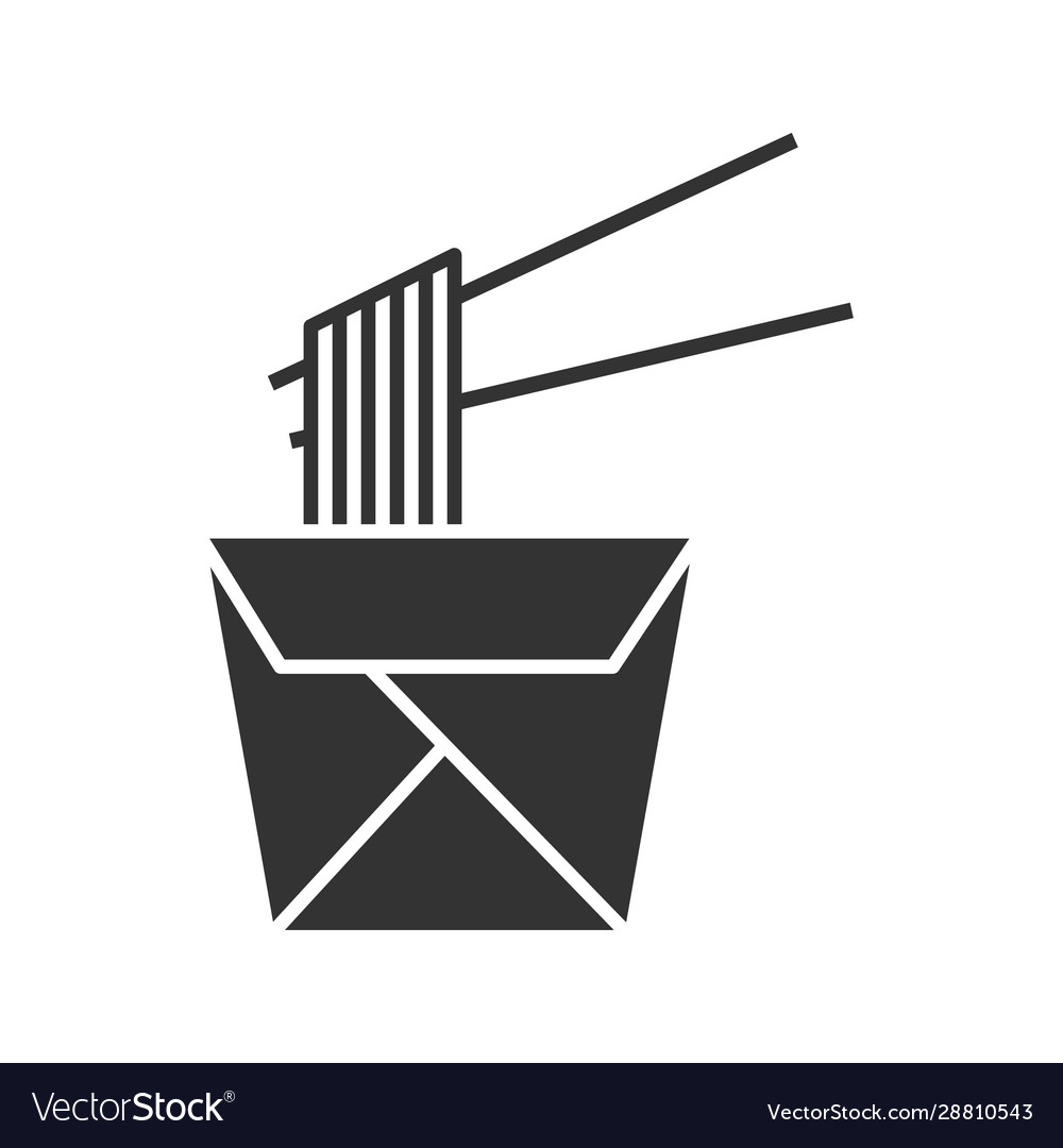 Chinese noodles in paper box and chopsticks glyph