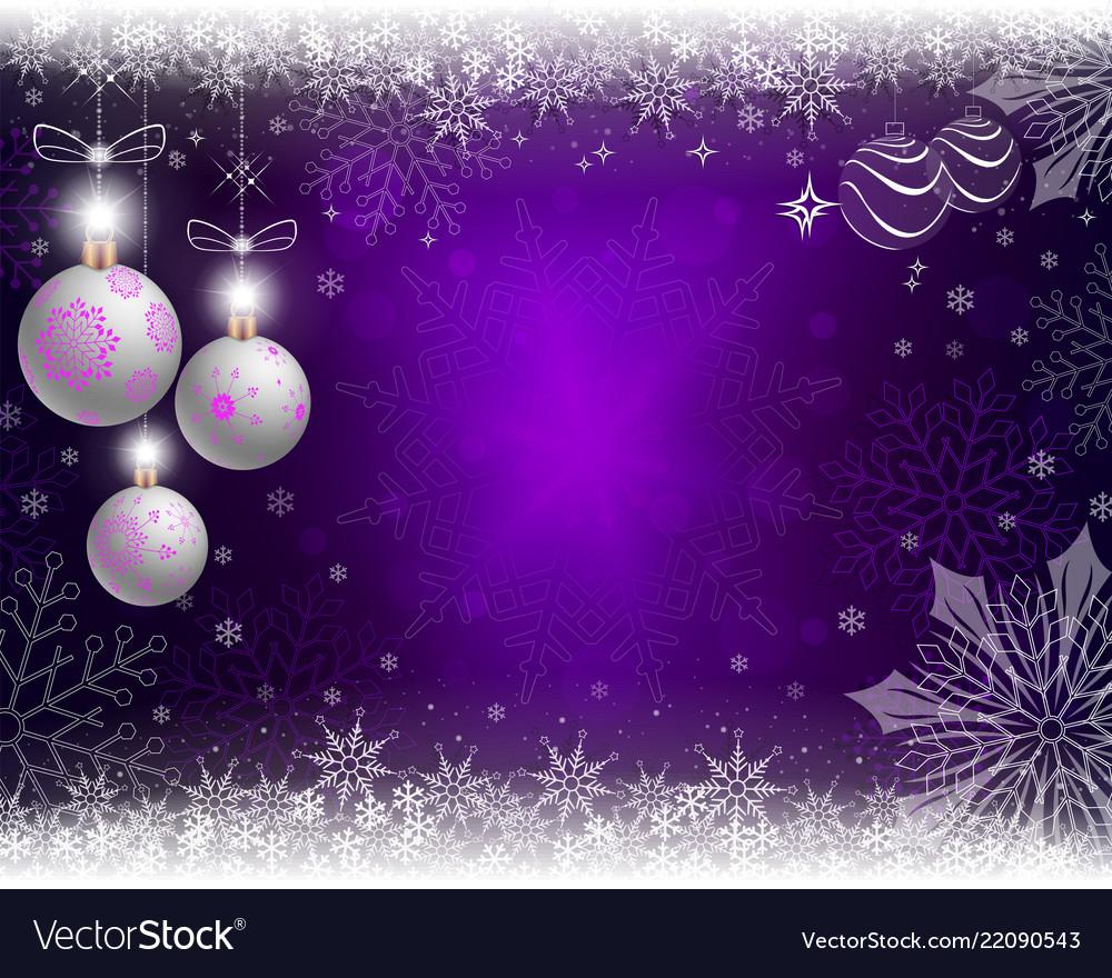 Christmas Purple Background With Three White Balls