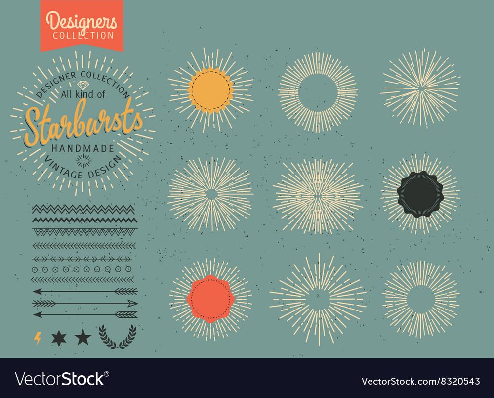 Collection of trendy hand drawn retro sunburst