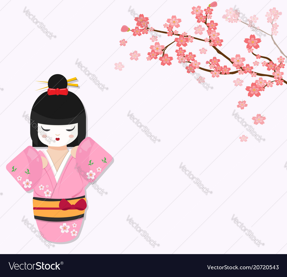 Cute japanese doll with cherry tree branch