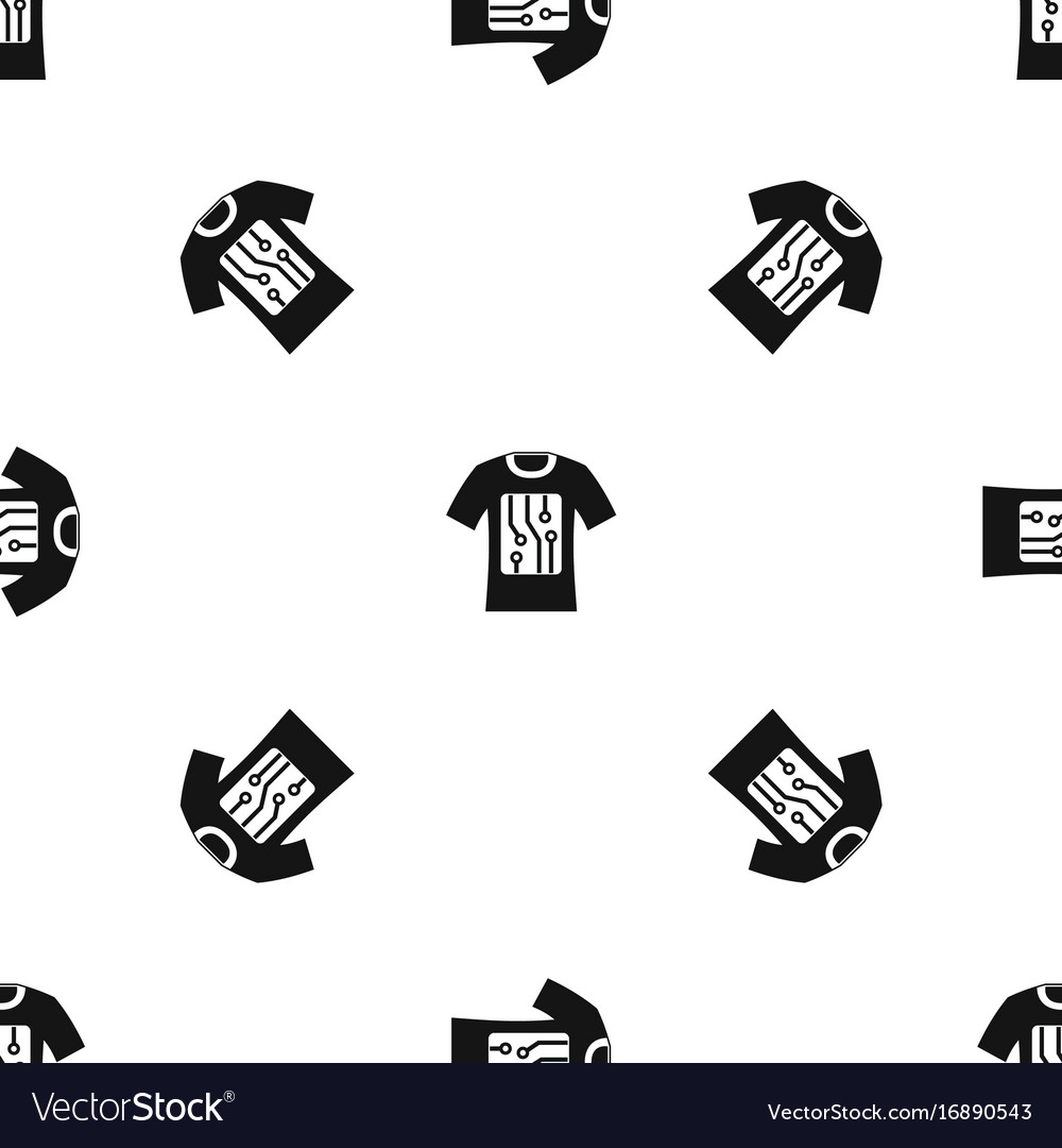 Electronic t-shirt pattern seamless black vector image