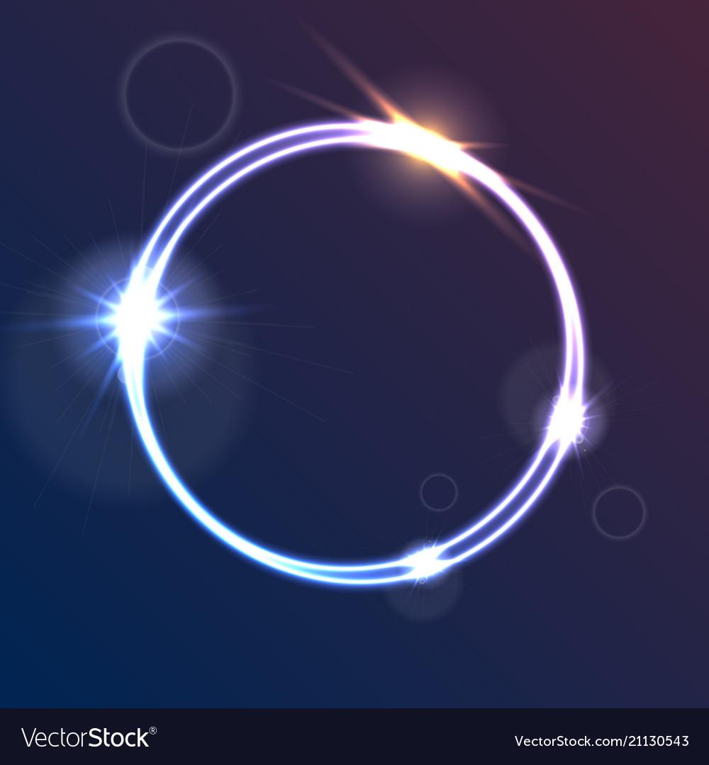 Glowing luminous neon ring shiny template