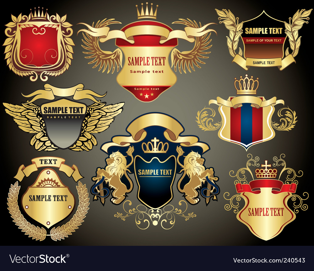 Gold heraldry elements