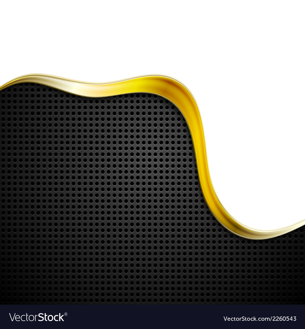 Golden perforated tech background vector image