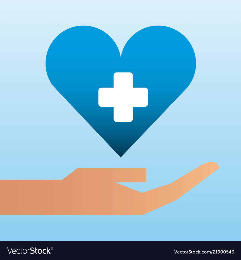 Hand holding heart care family protection