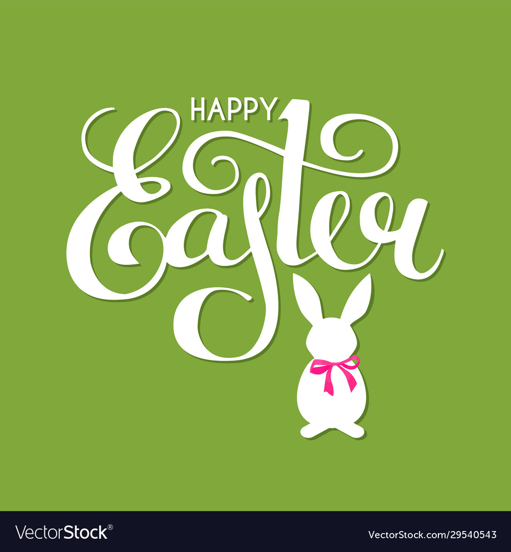 Happy easter lettering with bunny and bow