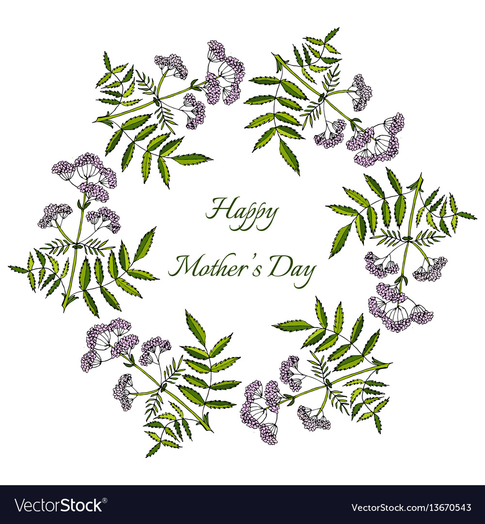 Happy mothers day card spring wreath with flowers
