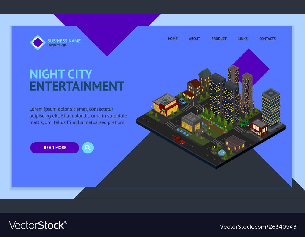 Night city district concept landing web page