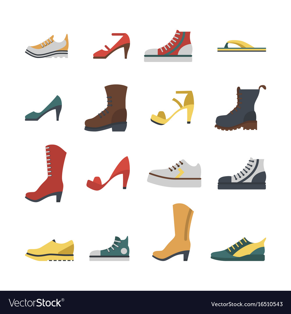 Set of flat-style shoes colored isolated men and vector image