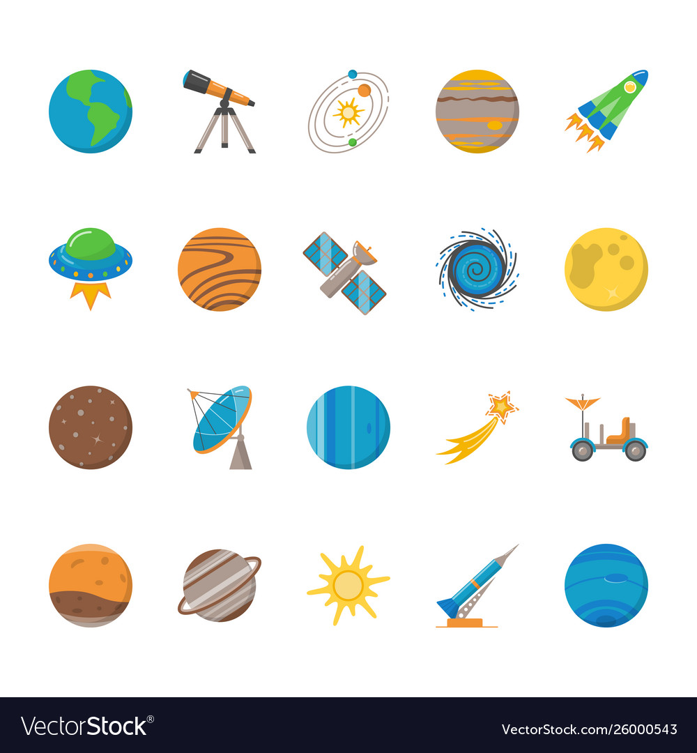 Space exploration icons set in flat style