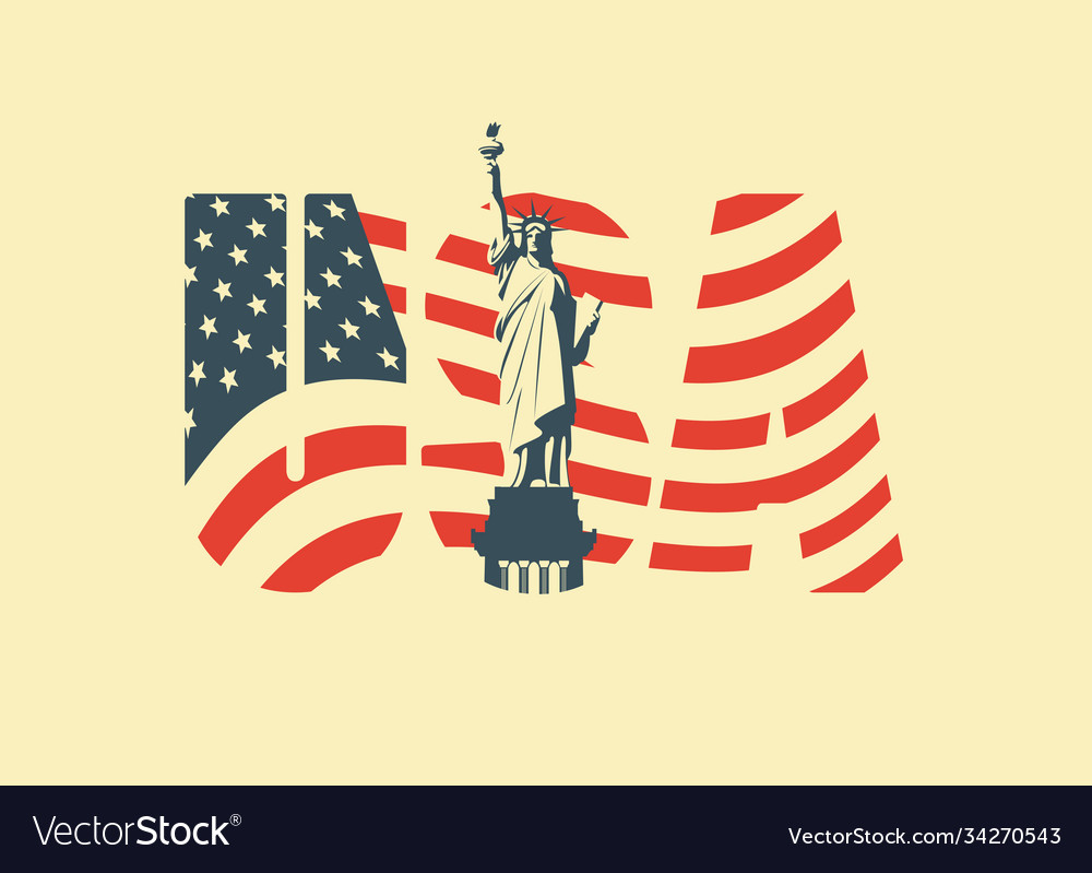 Usa letters american flag and statue liberty