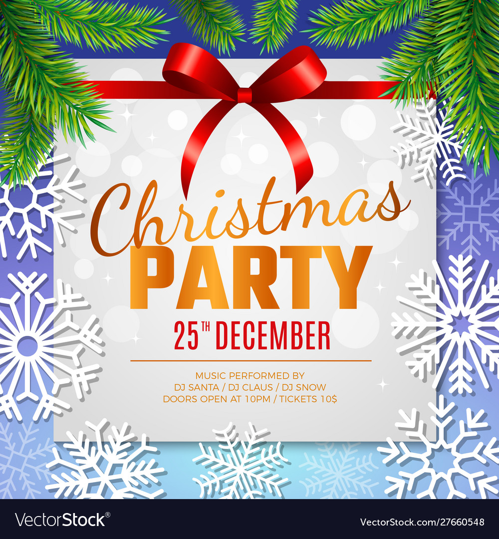 Christmas party card invitation template with