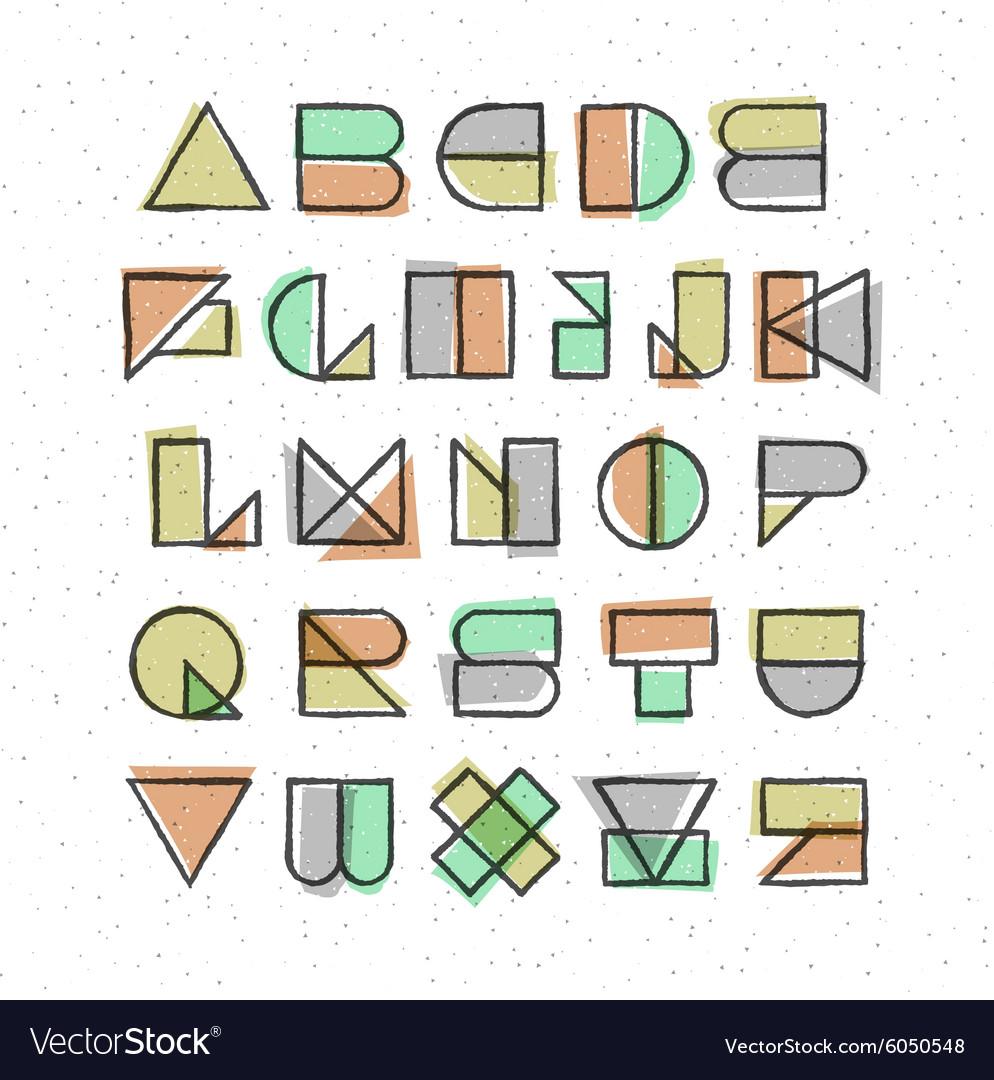 Geometric offset printing style font
