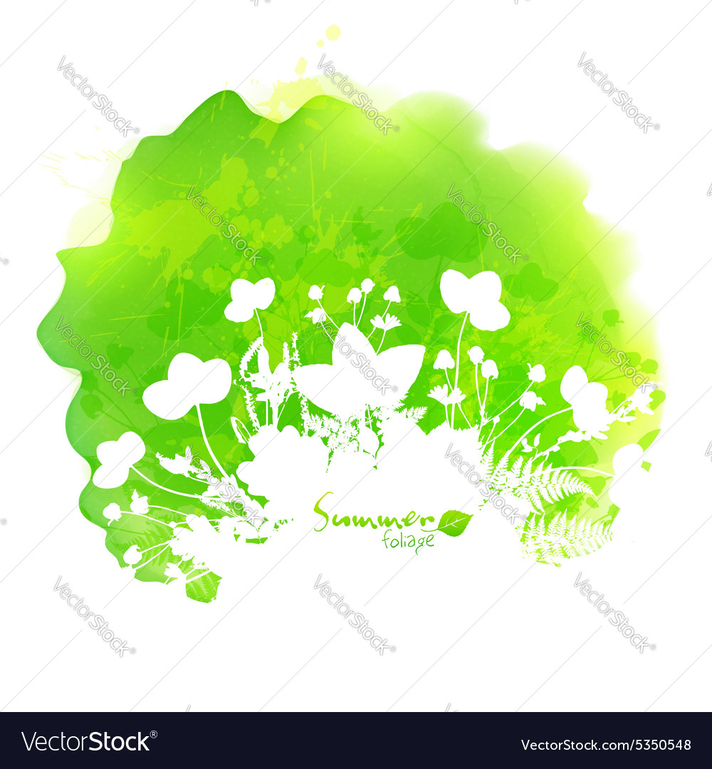Green watercolor stain with white foliage