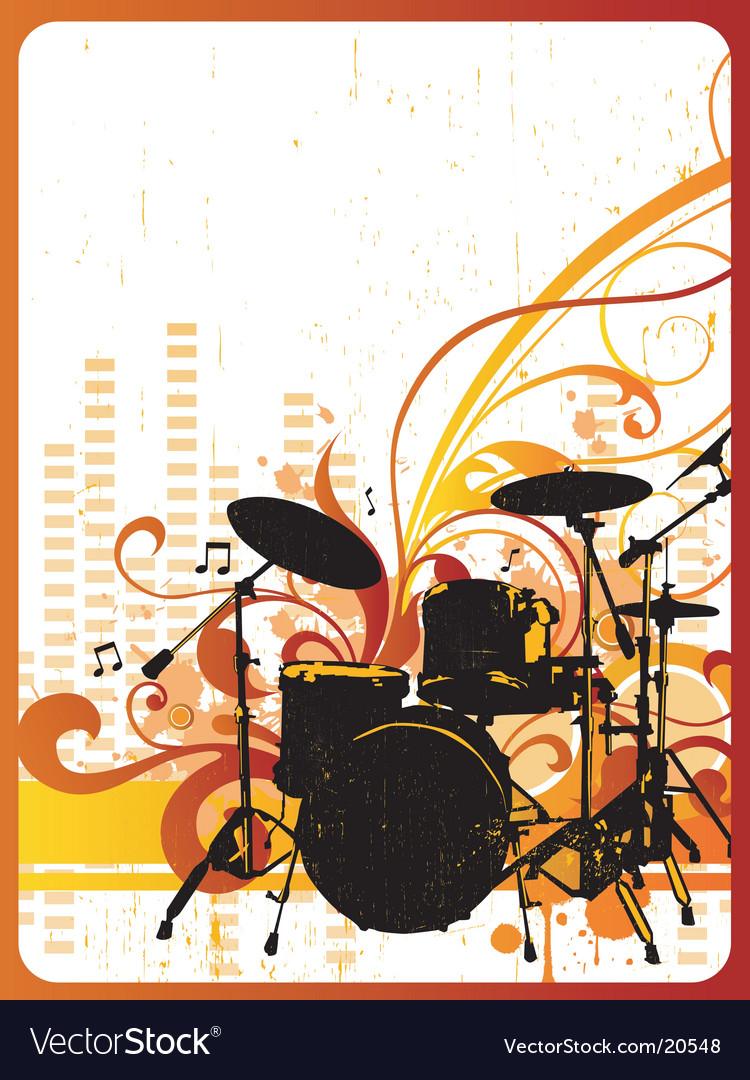 Grunge drum kit design vector image