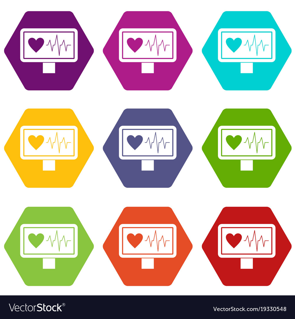Heartbeat icon set color hexahedron vector image