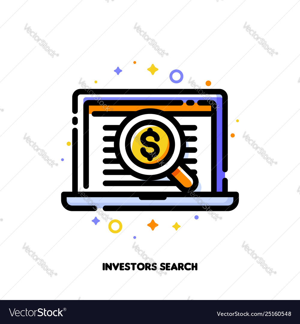 Icon magnifying glass for investors angel search
