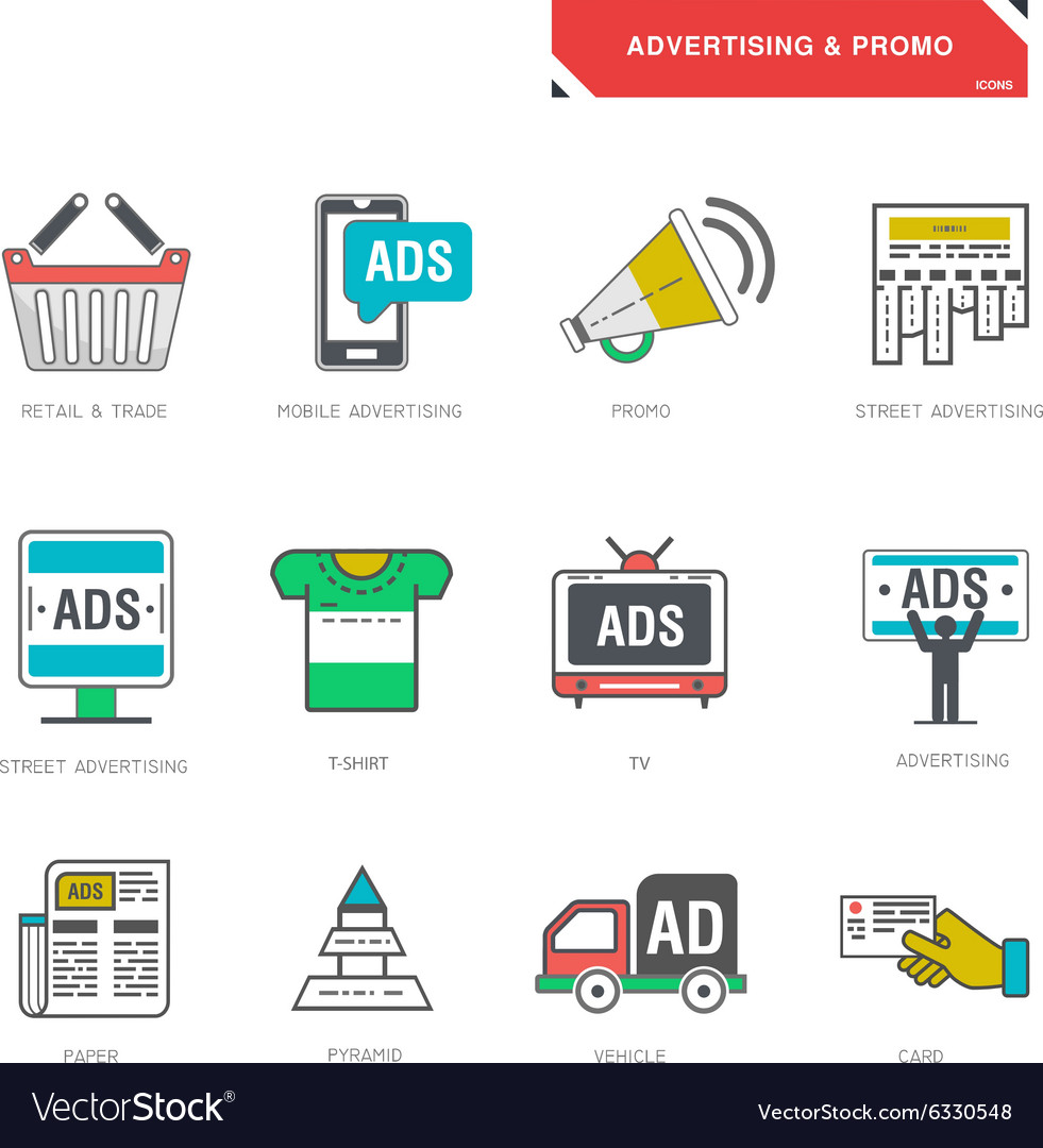 Line icons of advertising marketing product
