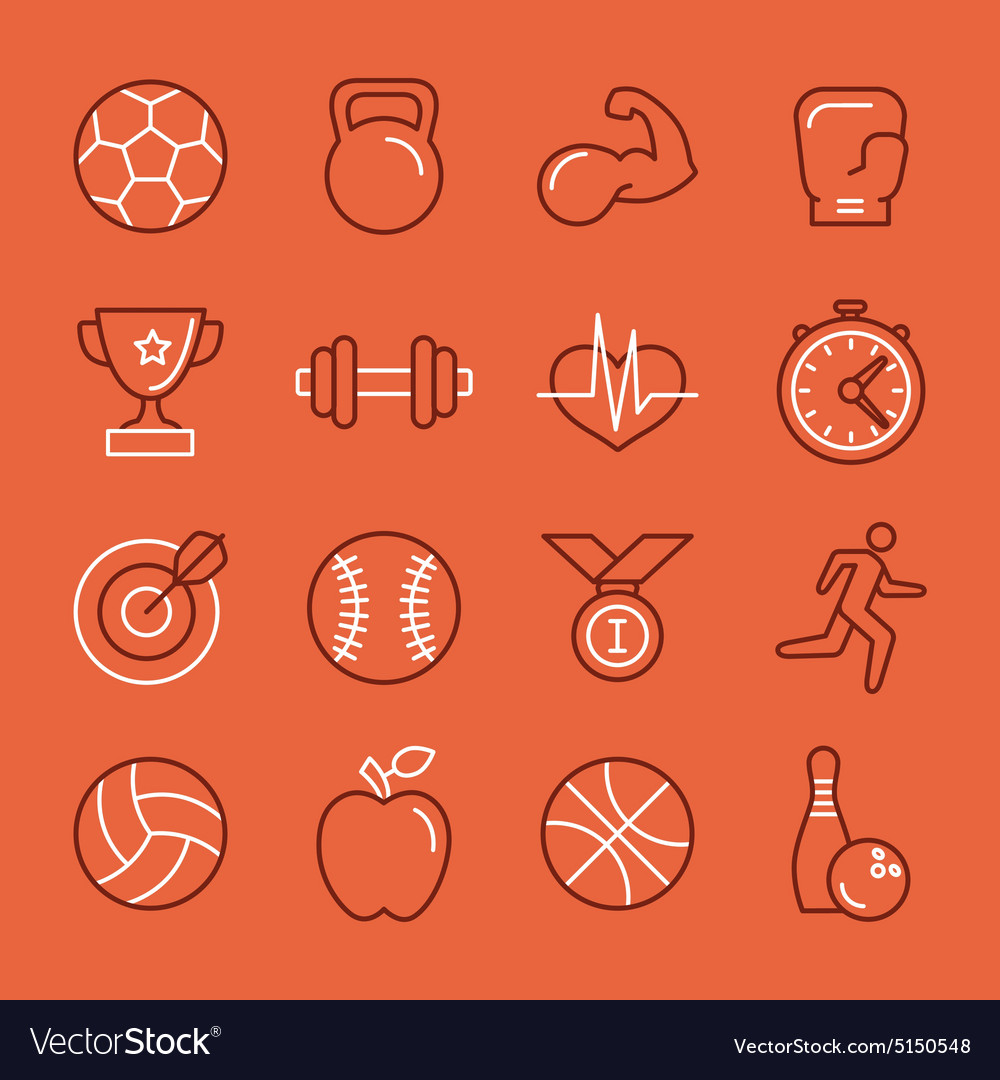 Linear sport and fitness logo design template and