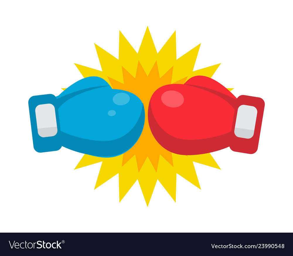 Red and blue boxing gloves ready to fight