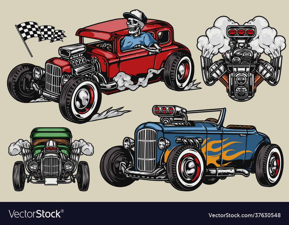 Retro custom cars vintage colorful concept